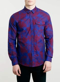 Blue And Red Floral Print Long Sleeve Shirt