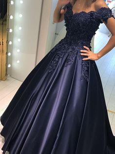 Ball Gown Off-the-Shoulder Navy Blue Satin Prom Dress with Appliques Beading 38d408a89ca3