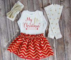 Babys 1st Christmas Outfit!  - Bodysuit Leg Warmers, Skirt and Headband!