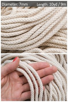 Ivory cotton rope / Color: beige Material: cotton Thickness: Length: = _________________________________________ This listing is for = of Ivory cotton rope 7 mm. When you purchase longer lengths (more than = the cord will not be cut and will be Rope Basket, Macrame Cord, Cotton Rope, Single Piece, Material, Braids, Jewelry Making, Ivory, Beige