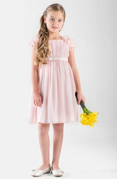 Us Angels Petal Sleeve Dress (Little Girls) available at #Nordstrom -- Simple Grecian, Roman style pleated flower girl dress. Would be better in chiffon and lilac, lavender or silver.