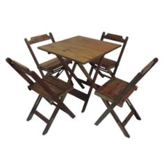 Conjunto Rústico Mesa 70x70 Cm 4 Cadeiras Dobrável Madeira Maciça - Cia Bistrô