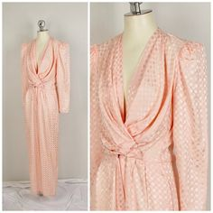 e7130b26731f pink silk power jumpsuit with shoulder pads size small plunging neckline  pockets 80s vintage ladies onesie