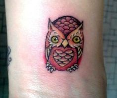 Little owl outline tattoo - photo#14