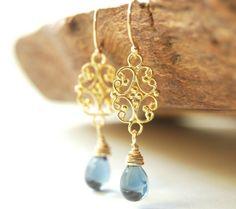 Alohilani earrings - deep blue gold drop earrings, gold filigree and glass drop earrings, www.kealohajewelry.etsy.com Maui, Hawaii