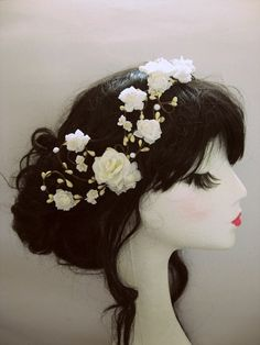 Rose Ivory and Cream Floral Headband Garland by beyondthewoods, $65.00