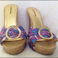 """Corked Wedges by Classified size 7 A summers must have a pair of corked wedges pre loved  size 7 wedge at 4"""" with 1"""" platform offers welcome classified Shoes Wedges"""