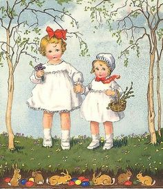 Easter (vintage postcard) ✿ 'Easter is coming, Spring is on its way, Hens getting ready, For eggs to lay. Flowers all growing, Bright and tall, Little lambs born, Fluffy and small. A time for hope, And a time for prayer, New beginnings, And warmer air. The Easter bunny, And chocolate treats, Egg rolling, hunts, And lots of sweets!' ~Anon