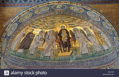 Apse mosaic from the 6th Century, depicting Madonna and Child, Euphrasian Basilica in Porec, Croatia, Europe Stock Photo