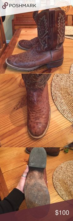 Vintage Lucchese Cowboy Boots Lucchese 2000 style, ostrich, round toe, slick leather soled, D width Lucchese Shoes Cowboy & Western Boots