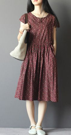 Burgundy print half sleeve fit flare dresses cotton sundressesThis dress is made of cotton linen fabric, soft and breathy, suitable for summer, so loose dresses to make you comfortable all the time. Modest Outfits, Casual Dresses, Fashion Dresses, Summer Dresses, Loose Dresses, Sun Dresses, Linen Dresses, Cotton Dresses, Modest Summer Fashion