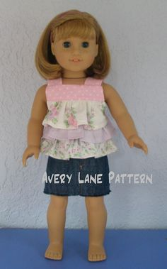 18 inch doll clothes sewing pattern Jenny Ruffle Top Boutique doll Pattern Avery Lane PDF Pattern email delivery 4 variations $6