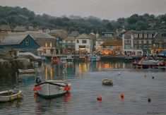 Peter Barker's Palette: Harbour Lights, Mevagissey