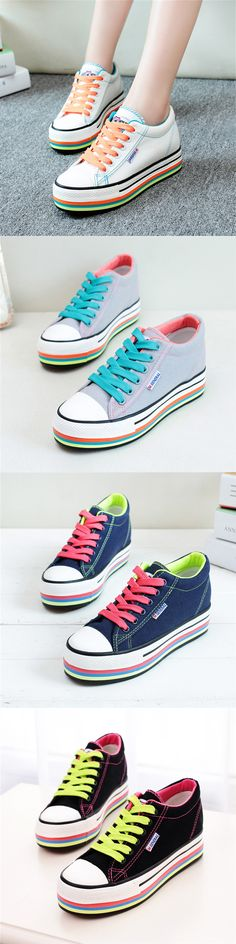 US$20.46 M.GENERAL Lace Up Colorful Low Top Canvas Flat Casual Shoes For Women