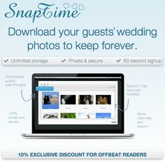 """SnapTime strikes a great balance for those of you that want an unplugged wedding, but also do want those extra photos. Guests don't need to be on their phones uploading pics on the day of your event; they can just snap away and sort them out later while still giving you all the benefits of having your guests be present during the day."""