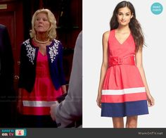 Pam's red belted dress on The Bold and the Beautiful.  Outfit Details: http://wornontv.net/48811/ #TheBoldandtheBeautiful