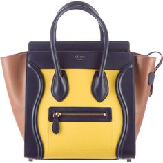 Pre-owned Celine Tricolor Micro Luggage Tote (34,770 MXN) ❤ liked on Polyvore featuring bags, handbags, tote bags, yellow, genuine leather tote, zip top tote, purse tote, leather man bags and hand bags