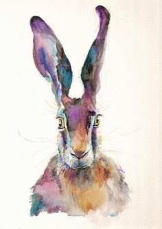 Hare Painting Original watercolor sunset dusk