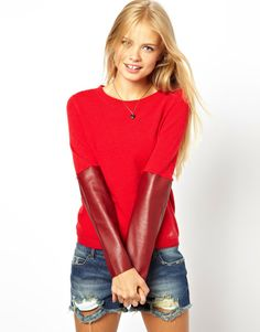 ASOS   ASOS Sweater With Leather Look Sleeves at ASOS