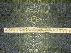 100% Pure Silk Brocade Vestment Fabric Blue & Green