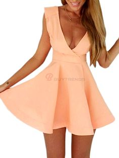 Endearing Solid Color Front-Back Low Cut V-Shaped Sleeveless Pleated Ball Gown Mini Casual Girls' Dress