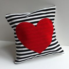 red heart pillow cover black and white striped, felt heart applique, black striped pillow cover, 12 inch heart shaped cushion cover