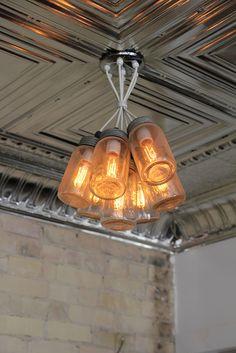 This pretty ceiling fixture lends a soft, romantic light.