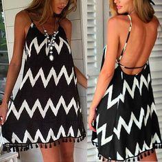 Women Summer Dresses Ladies Casual Loose Beach Strapless Mini Dress