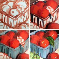 """Painting sequence for """"Tomatoes & Basil"""" by artist Elaine Juska Joseph. The steps to creating a painting in oil."""