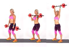 Clean and press step-by-step guide for women. Weight lifting moves for legs and shoulders. Learn how to do the clean and press at Women's Health & Fitness Reduce Belly Fat, Lose Belly Fat, Diet Plans To Lose Weight, Ways To Lose Weight, Exercise Images, Weight Loss Tablets, Clean And Press, Weights For Women, Get In Shape