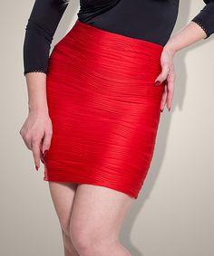 Look at this #zulilyfind! Demi Loon Red Ruched Jada High-Waist Skirt by Demi Loon #zulilyfinds