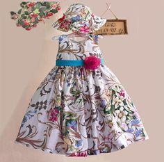 Платья браун цветочные платье девушки в шляпе мода с бантом летом девочек младенцев для ну вечеринку и свадьбы размер 2   7купить в магазине children paradiseнаAliExpress