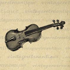 Printable Image Violin Digital Music Instrument Download Graphic Vintage Clip Art for Transfers Printing etc HQ 300dpi No.1096 @ vintageretroantique.etsy.com #DigitalArt #Printable #Art #VintageRetroAntique #Digital #Clipart #Download