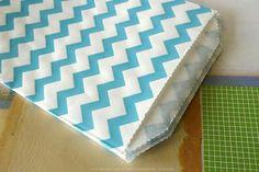 Medium Thin Aqua BLUE CHEVRON Favor Bags