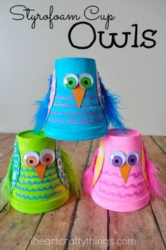 and Colorful Styrofoam Cup Owl Kids Craft Turn small Styrofoam cups into a cute and colorful Owl Kids Craft.Turn small Styrofoam cups into a cute and colorful Owl Kids Craft. Daycare Crafts, Crafts For Boys, Craft Activities For Kids, Toddler Crafts, Preschool Crafts, Projects For Kids, Diy For Kids, Craft Ideas, Art Projects
