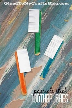 Popsicle Stick Toothbrushes - Dental Hygiene Kid Craft Idea activities for kids art projects Popsicle Stick Toothbrushes- Dental Inspired Kid Craft Preschool Projects, Daycare Crafts, Preschool Art, Preschool Activities, Crafts For Kids, Teeth Projects For Kids, Space Activities, Art Projects, Hygiene Lessons