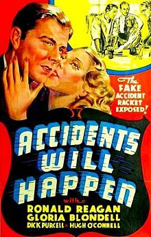 #1006. Accidents Will Happen, December, 2016. Straight-arrow insurance investigator Eric Gregg loses his job when his avaricious wife, Nona, gets mixed up with a scam involving a shady loan company that Eric has been investigating for insurance fraud. Divorced and embittered, he teams up with cigarette girl Patricia Carmody to run an insurance-fraud scheme of his own. Their success attracts the attention of Nona's new beau, the head of the corrupt loan firm.