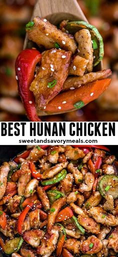 Hunan Chicken is an easy recipe to make and ready in about 30 minutes. It is filled with vegetables that make this savory dish nutritious, flavorful and very colorful! #chickenfoodrecipes #hunanchicken #easyrecipe #sweetandsavorymeals #30minutemeals Wok Recipes, Spicy Chicken Recipes, Lunch Recipes, Vegetable Recipes, Healthy Dinner Recipes, Asian Recipes, Cooking Recipes, Walnut Recipes, Vietnamese Recipes