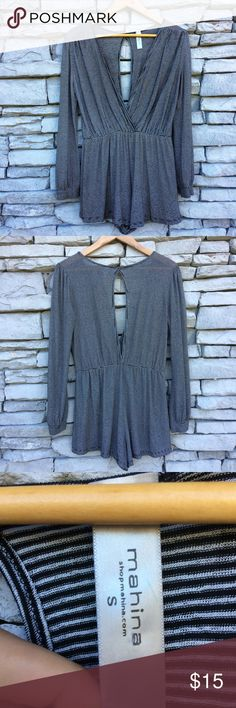 """MANINA Black White Stripe Romper with Keyhole Size Small Bust 38"""" Waist unstretched 26"""" Measured flat  Excellent used condition Manina Pants Jumpsuits & Rompers"""