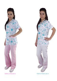 NU-08 NURSE UNIFORM • Top & Pant • Alpaca fabric, %65/35 poly/viscose • Fashioned envelope collar • One chest and two patch pockets • Short or long sleeve options • Closed front • Wrinkle resistant • No yellowing • Color: Special spring patterned • Optional pastel colors • Sizes(US): XS – S -M - L - XL -2XL -3XL • Sizes(EU): 36 -38 -40 -42 -44 -46 -48