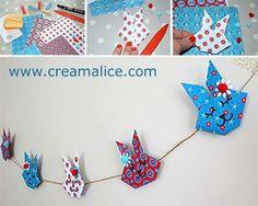 ❀ ✄ DIY Guirlande Lapins Pâques Origami / DIY Easter Origami Bunny Garland ✄ ❀