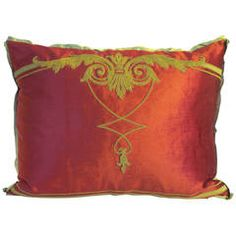 Antique Metalic Embroidered Pillow