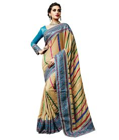Indian Look, Embroidery Saree, Sarees Online, Designer Wear, Trendy Outfits, Sari, Beige, How To Wear, Stuff To Buy