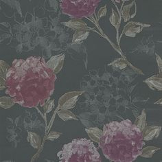 Hydrangea  (128025) - Esta Home Wallpapers - An elegant and bold hydrangea design created using a hand painted effect. Shown here in charcoal with pink flowers and taupe stems.  Please request a sample for true colour match.