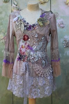 Spellbound tunic,bohemian, romantic tunic, , altered couture, embroidered and beaded details,old laces