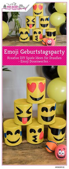 Emoji DIY birthday party ideas for outdoor games to make yourself – Emoji can throwing for children's birthday Ideas Emoji DIY Birthday Party Games Ideas For Outside MrsBerry Diy Birthday Party Games, Toddler Party Games, Birthday Party Tables, Birthday Diy, Birthday Emoji, Emoji Diy, Emoji Decorations, Emoji Games, Outdoor Birthday