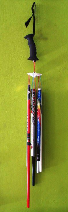 Snow ski poles wind chimes on Etsy, $49.38