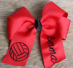 Personalized Embroidered Tails Down Hair Bow - Volleyball