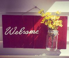 Hand-painted Welcome Sign//Reclaimed Wood by TimberlakeHomeDesign