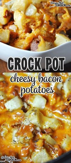 These Crock Pot Cheesy Bacon Potatoes are so amazing!